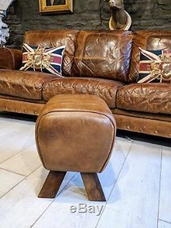 Chesterfield vintage John Lewis Pommel horse footstool Tan brown Courier av