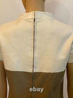 Clothes Horse S Brown Ivory Genuine Leather Vintage 60's Lined Go-Go Mini Dress