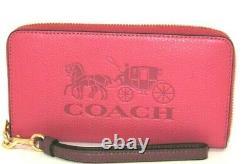 Coach C3548 Long Zip Around Horse & Carriage Wallet Poppy Vintage Mauve NWT $268