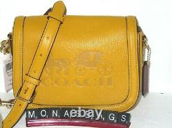 Coach C4058 Saddle Bag Horse & Carriage Pebble Leather Ochre Vintage Mauve $350