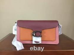 Coach Tabby 26 Pebbled Leather Color Block Shoulder Bag Pewter Vintage Pink NWT