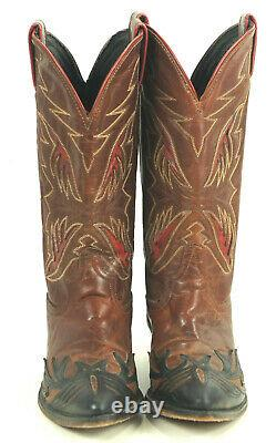 Code West Black Brown Cowboy Boots Red Inlay Wings Vintage 80S US Made Women 7 M