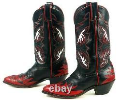 Code West Black Red Cowboy Firewalker Boots Inlays Vintage 80S US Made Women 8 M