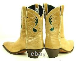 Code West Tan Ankle Cowboy Boots Inlay Green Music Note Vtg US Made Women's 8.5