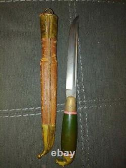 Cool Vintage PUUKKO Knife Brass Horse Head Handle Leather Sheath Made in Finland