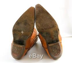 Cowboy Boots Brown Leather Red Horse Tips Mens Size 10 Western Rockabilly VTG