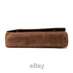 Crazy Horse Leather Briefcase Vintage Mens Shoulder Messenger Satchel Sling Bag