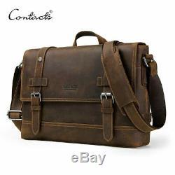 Crazy horse genuine leather men's bag vintage man shoulder bags for