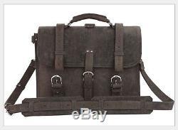 Crazy horse leather Men's briefcase vintage leather messenger shoulder bag