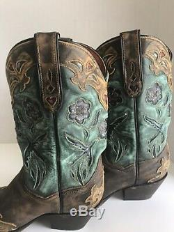 Dan Post Boots Women's Vintage Blue Bird 7.5 Snip Toe Western DP3544 Size 7 1/2