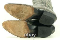Dan Post Men's Dark Gray Leather Cowboy Western Boots Vintage 70s Spain 9.5 B
