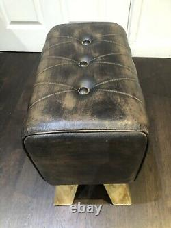 Dark Brown Vintage Chesterfield Style'Pommel Horse' Leather Foot Stool 47cm H