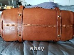 Dooney Bourke handbag vintage crossbody brown leather adjustable strap & tassels