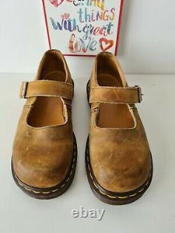 Dr Doc Martens Mary Jane buckle shoes vintage england crazy horse UK6 EU 39 US8