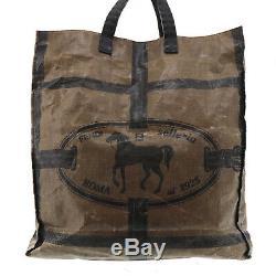 FENDI Selleria Tote Hand Bag Brown Vinyl Leather Vintage Authentic #EE702 I