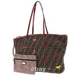 FENDI Zucca Horse Shoulder Tote Bag Brown Canvas Leather Vintage Auth #RR144 O