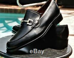 FERRAGAMO Lavorazione Tramezza Man's Black Horse bit Leather Loafers Sz 11. EE