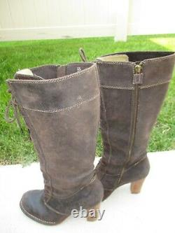 FRYE VILLAGER LACE Distressed Brown Leather Tall Lace Up Boots 77610 Size 7.5M