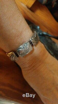 Fantastic Vintage Sterling and Leather Horse Head Bracelet