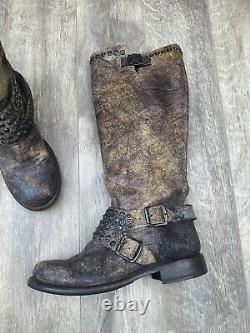 Frye Jenna antiqued brown leather studded tall Distressed moto boots size 8