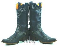 Frye Royal Blue Leather Cowboy Western Snip Toe Boots Vintage Spain Women's 9 M