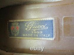GUCCI 1953 blue patent leather gold horse but buckle VINTAGE shoes sz 38.5