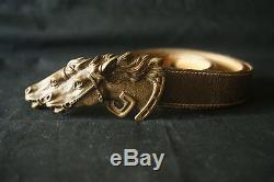 GUCCI Double Horse Vintage Brass Buckle Leather Belt Made in Italy. RARE