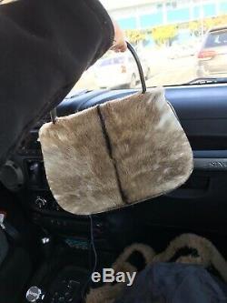 GUCCI Rare Vintage Tom Ford Era 1993 Pony Hair Leather Handle Turn Lock Handbag