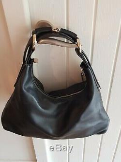 GUCCI Shoulder Horse bit Chain Medium Black Leather Hobo Bag Vintage