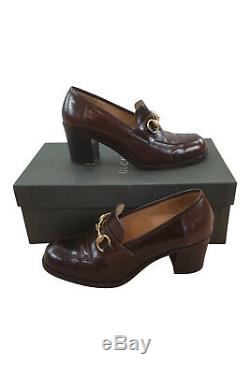 GUCCI Vintage Brown Patent Leather Block Heel Horse Bit Court Shoes (7 1/2)