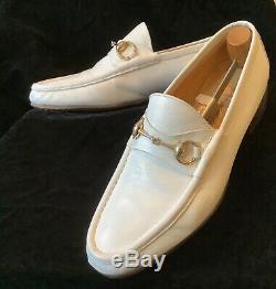 GUCCI Vintage White Leather Horse Bit Loafers Men sz 42.5 / 9.5M Fabric Label