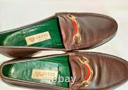 GUCCI Vintage brown Leather Stripe Horse Bit Loafer slip on Shoes 9.5 US 42.5