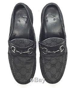GUCCI Vtg Black Leather GG Canvas Horse Bit Loafers Men 5.5D / Woman 7.5B ITALY