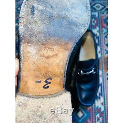 GUCCI WOMEN'S BLACK LEATHER HORSE BIT LOAFERS SHOES 6 1/2 B vintage gucci
