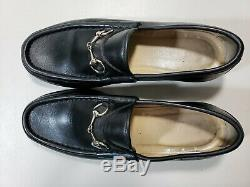 GUCCI WOMEN'S BLACK LEATHER HORSE BIT LOAFERS SHOES 7 B vintage gucci