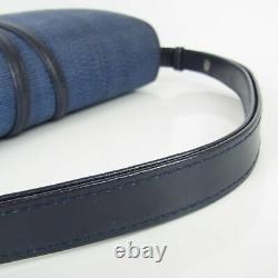 Genuine HORSE HAIR Vintage Logos Leather Shoulder Hand Bag Navy 15895b