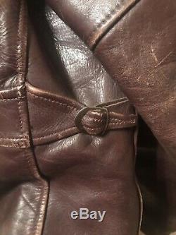 Genuine Horse Hide Front Quarter Leather Jacket Vintage Brown 1940-1950