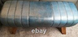 Genuine Leather Blue Pommel Horse Stool Footstool Vintage Seat 90cm wide