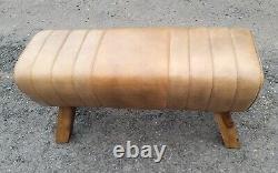 Genuine Leather Brown Pommel Horse Stool Footstool Vintage Seat 88cm wide
