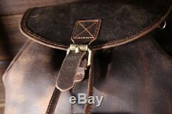 Genuine Leather Mens Backpack Vintage Brown Rucksack Crazy Horse Travel Backpack