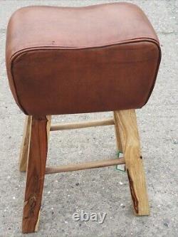 Genuine Leather Tan Pommel Horse Stool Footstool Vintage Seat 74cm high