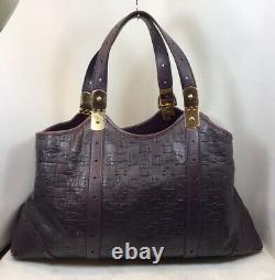 Genuine VTG GUCCI Purple Embossed Leather Gold tone Horse Bit Hardware Tote Bag