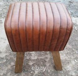 Genuine Vintage Leather Saddle Pommel Horse Stool Footstool Seat 39cm wide