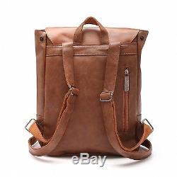 Good&god Pu Crazy Horse Leather-Like Vintage Women's Backpack School Bag brown