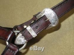 Gorgeous VINTAGE CIRCLE Y Western Horse Size Show Halter with VOGT STERLING SILVER