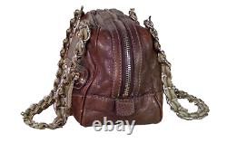 Gucci Authentic Vintage Brown Bronze Metallic Leather Gold Horse Chain Bag +Dust