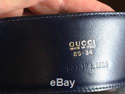 Gucci Black Leather Silver tone Horse Bit Belt Vintage 369-55-6118