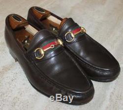 Gucci Dark Brown Vintage Leather Horse Bit Loafers / Shoes Men 43 Med / 10 D USA
