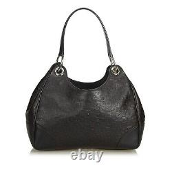 Gucci Horse-bit Embossed Brown Leather Shoulder Bag Vintage Womens