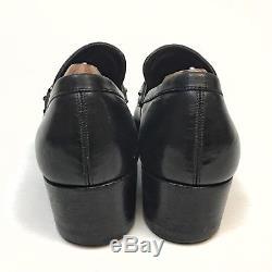 Gucci Mens Shoes Sz 7.5D Horse Bit Loafer Black Leather Velvet Top Vintage